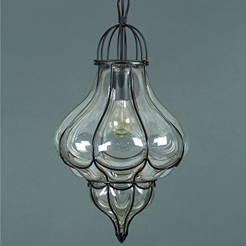 Yosemite Home Decor SCPL2042-1BK  1 Light Pendant, Black Finish with Clear Glass