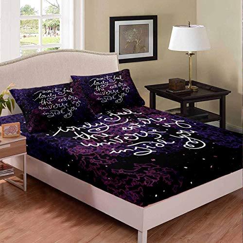 Set di lenzuola con lettere dell'alfabeto inglese, set di lenzuola e ragazze incoraggianti stelle scintillanti e spazio biancheria da letto3 pezzi biancheria da letto king