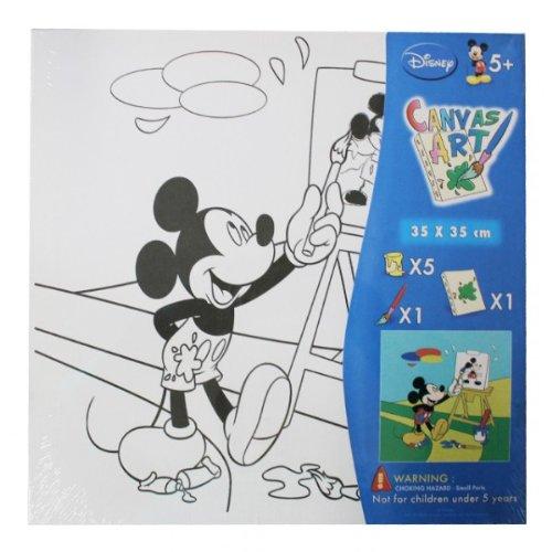 Mickey Mouse Ausmalbilder auf Leinwand Motiv wählbar Keilrahmen inkl. Farbe und Pinsel, Farbe:Rot