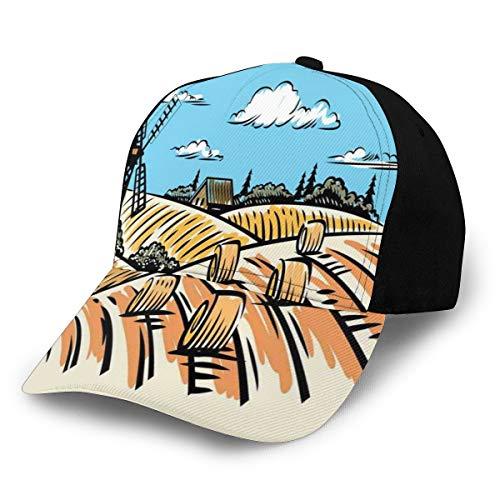 Hip Hop Sun Hat Baseball Cap,Illustration of A Windmill and Hay Bales Harvest Season,for Men&Women