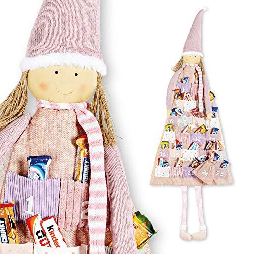 WOMA - Süßer DIY Adventskalender zum Befüllen Kinder & Erwachsene - Weihnachtselfe - 51 x 135cm - Weihnachtskalender zum Befüllen, Aufhängen & Verschenken - Rosa