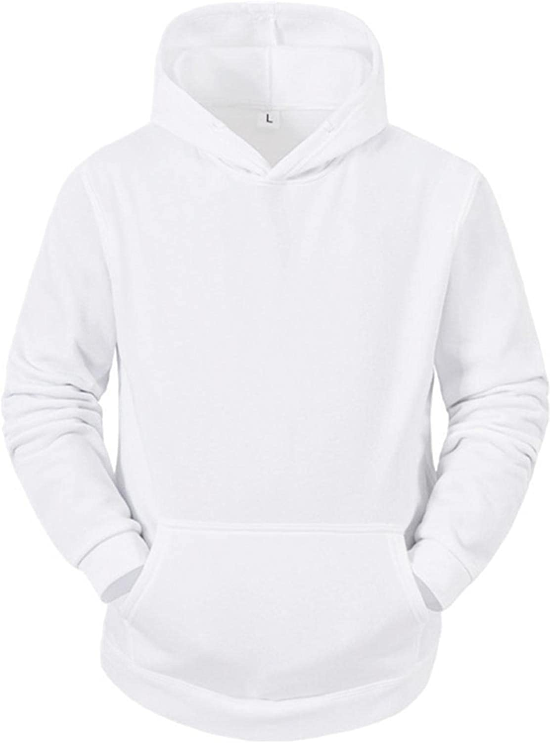 Men's Hoodie Solid Color Athletic Sweatshirt Long Sleeve Drawstring Pullover Tops Jacket Gym Hooded Outwear with Pockets