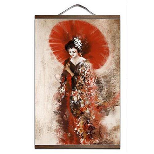 wzgsffs Japan Geisha Kunstdruck Leinwand Poster Leinwand Scroll Gemälde mit Holzrahmen Living Home Decoration * 1Pcs