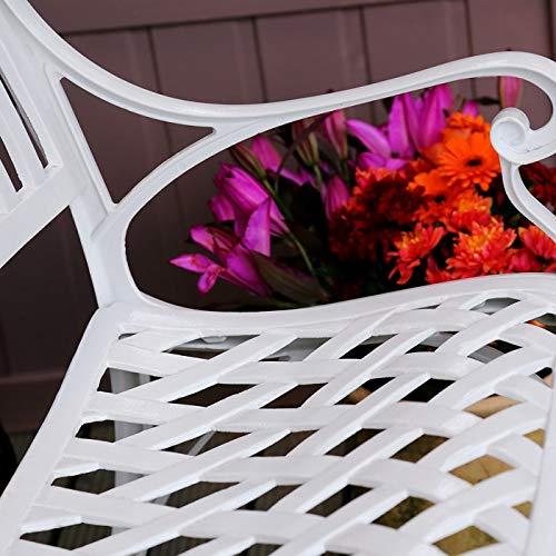 Lazy Susan – GRACE Gartenbank aus Aluminium, Weiß (Beiges Kissen) - 6