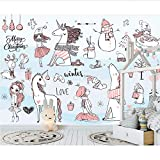 Weaeo Nettes Tier 3D Karikatur-Tapeten-Wandbild Für Baby-Kind-Raum-Hintergrund-3D Karikatur-Wandbild Wandpapier 3D Aufkleber-280X200Cm