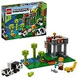 LEGO Minecraft La garderie des pandas, Ensemble de construction avec figurines Alex et animaux, Jouets pour enfants de 7 ans et plus, 96 pièces, 21158