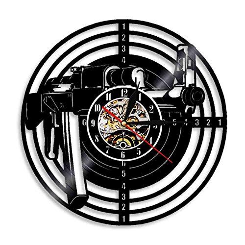 IANGL Disparo Pistola Disco de Vinilo Reloj de Pared Objetivo de Tiro Reloj de Vinilo Anillo de Rifle de Aire Vinilo Moderno ejército Arte de Pared decoración Reloj