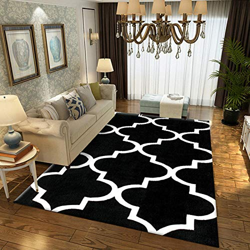 Geometrische moderne tapijt voor woonkamer Slaapkamer Slaapbank Koffie Studie Anti-Slip Tapijten Showcase tapijten Huishoudelijke tapijt 120cmX160cm Zwart
