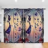LIUCHIHYUU Cortinas de Alicia en el País de las Maravillas fáciles de instalar, 52 x 183 cm (2 paneles) de calidad elegante y gruesa aislamiento opaco