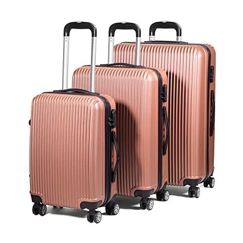 3 Piece Ultra Lightweight ABS Hard Shell Travel Luggage Trolley Suitcase Set - 4 Wheels/Moves in All Directions - Cabin Size Included - Telescopic Extendable Handle (Rose Gold)
