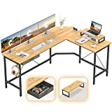CubiCubi L-Shaped Desk Computer Corner Desk, Home Office Gaming Table, Sturdy Writing Workstation with Small Table, Space-Saving, Easy to Assemble, Rustic Brown