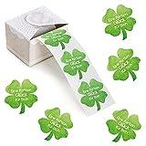 Logbuch-Verlag 200 Sticker auf Rolle - grünes Kleeblatt mit Text EINE PORTION GLÜCK FÜR DICH - Geschenkaufkleber Glücksbringer 5 cm