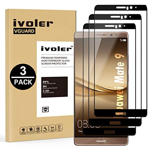 VGUARD 3 Unidades Protector de Pantalla para Huawei Mate 9, [Cobertura Completa] Cristal Vidrio Templado Premium, [Dureza 9H] [Anti-Arañazos] [Sin Burbujas]