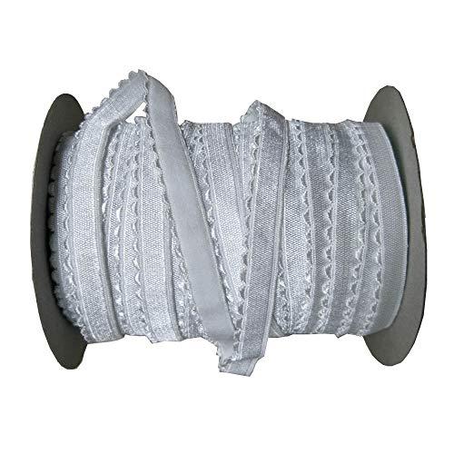 7/16 Inch Picot Edge Lingerie Elastic Stretch Sewing Plush Bra Elastic 5Yards (White)