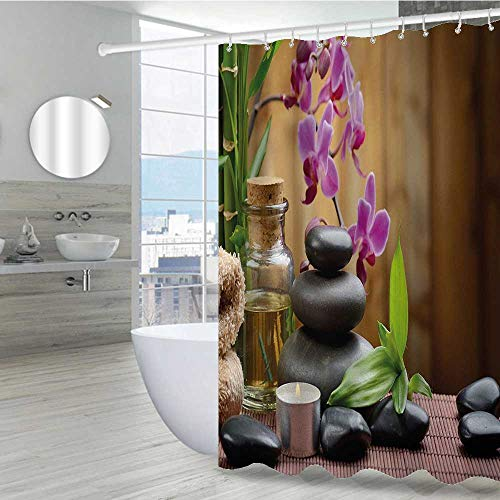 Interestlee Spa Shower Curtains 36' W x 72' L, Warm Welcoming Spa Reception Big Healing Stones Candles Scent Flowers Print Waterproof Polyester Fabric Bath Curtain, Purple Black and Green