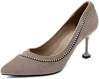 KTYXDE High Heel Women's Fashion Men's High Heel Work Shoes Spring and Summer 8CM Gray Black Women's Shoes (Color : Gray, Size : EU36/UK3.5/CN35)
