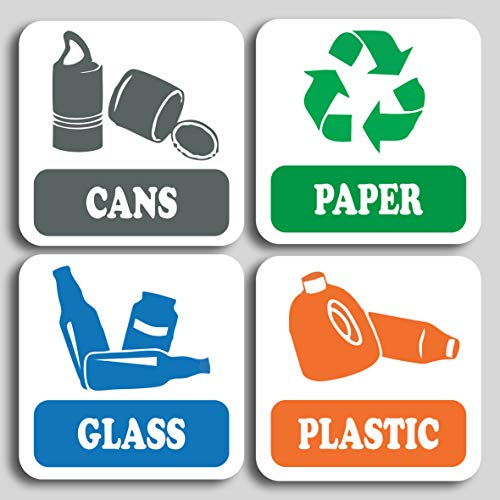 4 Pack Recycling signs, self adhesive Stickers Doors or Walls ideal for bins (1)