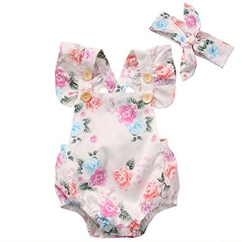 CAT1-RHD CAT1-RHD Baby Mädchen Strampler Spielanzug Blumen- + Stirnband Kleidung Kinder 0-24 Monate (0-6 Monate)