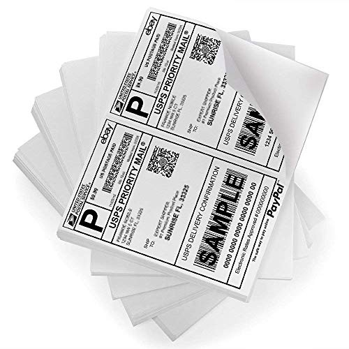 FungLam Shipping Labels with Self Adhesive, for Laser & Inkjet Printers, 8.5 x 5.5 Inches, White, Pack of 5000 Labels