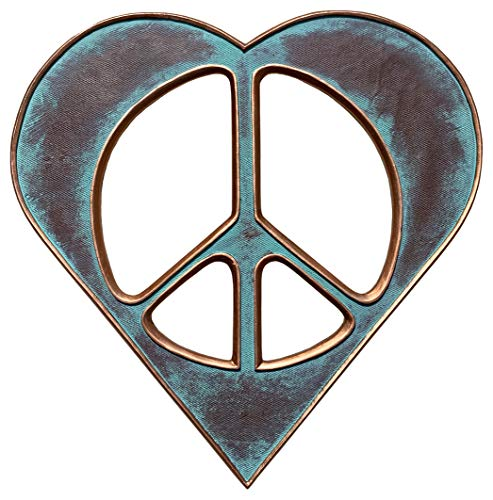 Heart/Peace Sign Wall Decor Art - 12' Rustic Hippie Love Plaque