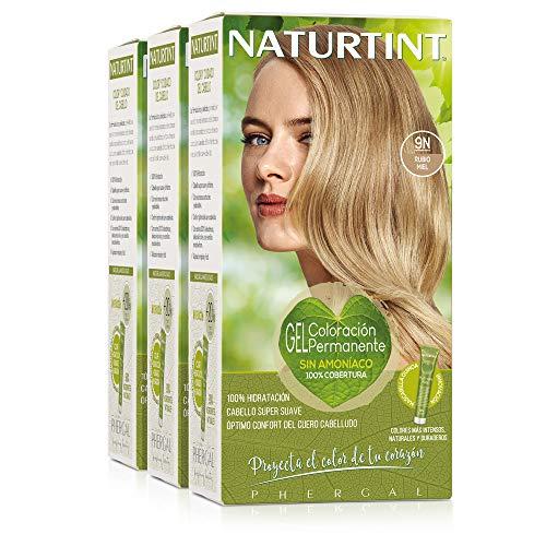 Naturtint Coloración 9N Rubio Miel, 100% Cobertura de canas y Hidratación, Ingredientes Vegetales y Aceites 100% Biobotánicos, Color Natural y Duradero, Sin Amoniaco, Parabenes, Siliconas, Pack de 3.