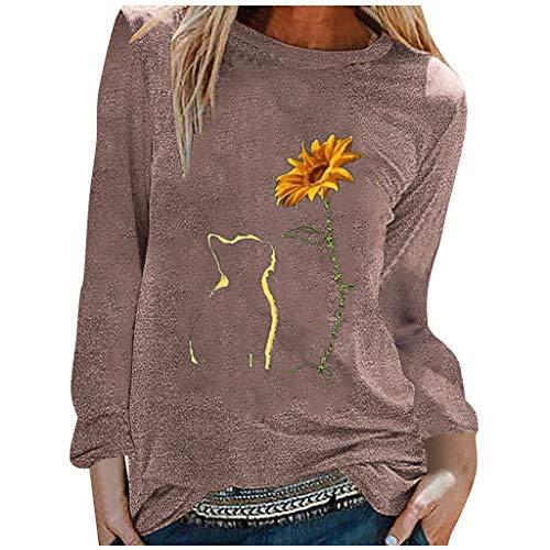 Lazzboy Store T-Shirt Katze Sonnenblume Damen Frauen Herbst Tops Lose Weiche Langarm Bluse Sweatshirt Langarmshirt Pulli Basic Rundhals-Ausschnitt Sport Pullover (Khaki,S)