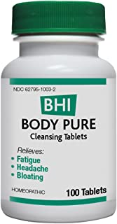 BHI Body Pure Cleansing Tablets - Homeopathic Formula for Temporary Relief of Minor Fatigue, Headache and Bloating, 100 Count
