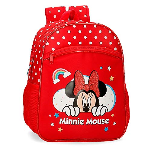 Disney Minnie Rainbow Mochila Escolar Rojo 27x33x11 cms Poliéster 9,8L