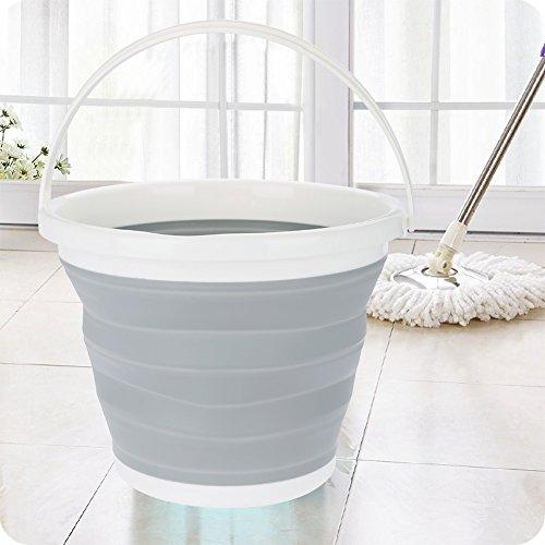 GOTOTOP - Cubo de agua plegable de 10 litros, de plástico, cubo plegable para la limpieza de la ropa, camping, pesca, 32 x 25 cm