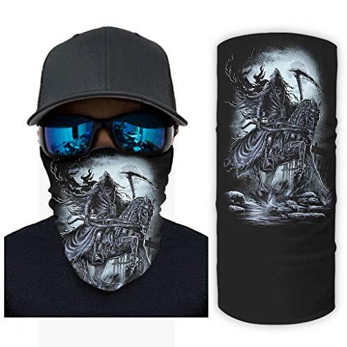 CCMugshop Bandana Face Mask Dark Muerte en caballo Luna Night Print Outdoor Headwear Tube UV/Dust White One Size