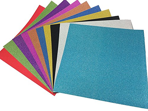 10 Blatt Klebefolie Glitzer Selbstklebende Dekofolie Farbige Bastelfolie Glitter Vinyl Aufkleber für DIY Handwerk Scrapbooking 30x30cm mehrfarbig