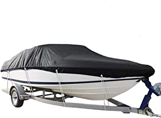 Boat Cover, Heavy Duty 600D Waterproof Runabout Boat Cover, Fits V-Hull,Tri-Hull,Trailerable Speedboat Fishing Ski Boat Co...