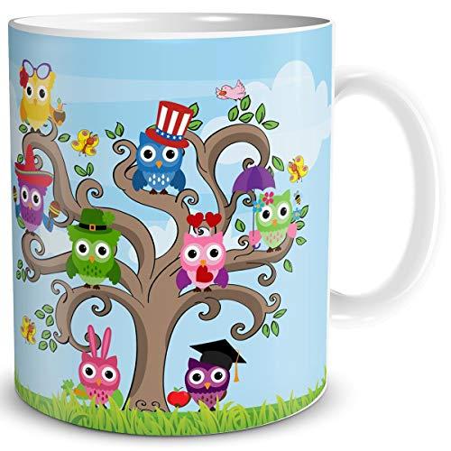 TRIOSK Tasse Eule lustig mit Eulenmotiv Eulen Baum Eulendesign Geschenk für Eulenliebhaber Frauen Mädchen Freundin Bunt