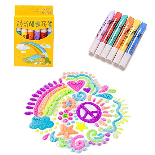6 PCS Magic Popcorn Pen,Magic Colour DIY Bubble Popcorn Drawing Pens,Puffy Embellish Decorate Graffiti Stationery