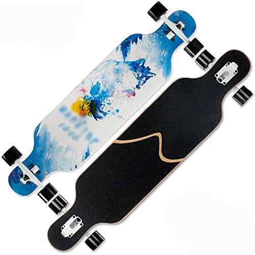 LJHBC Skateboard Crucero Completo Adecuado For Niños/Niños/Niñas/Jóvenes 41x9.25 Pulgadas Longboard Estilo Libre Cubierta De Arce Cojinete De Carga 440 Lbs. (Color : Snow Wolf King)