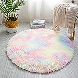 Cozy Basic - Alfombra antideslizante, redonda, lavable, pelo largo, suave, apta para dormitorio, salón, sofá, decoración, color degradado, 100 cm