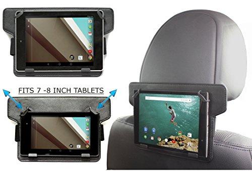 Navitech Schwarze Leder Tablet PC verstellbare, festsitzende Halterung/Station für KFZ-kopfstütze/Rücksitz für das Dell Venue 8 (2014) / Venue 8 Pro/Venue 8 7000