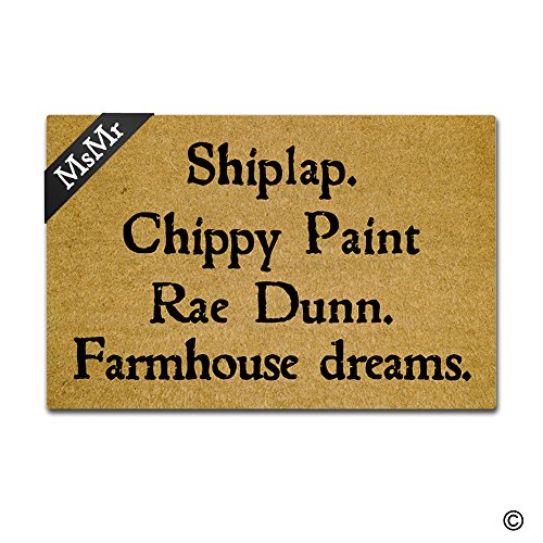 MsMr–Felpudo para Entrada (Shiplap. Chippy Pintura RAE Dunn. Farmhouse Dreams. Floor Mat Interior Al Aire Libre Decorativo de Goma Felpudo se Puede Lavar a máquina 23,6por 15,7Pulgadas