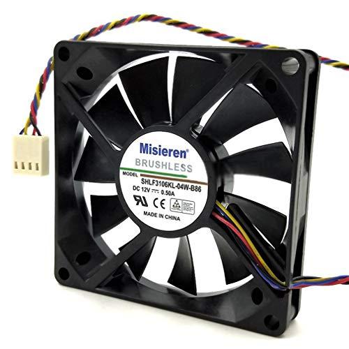 12V 0.50A 8 Cm Control de Velocidad 4 Cables PWM Control de Temperatura Ventilador de la Caja de la computadora (Negro)
