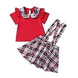 I3CKIZCE Lot de 2 vêtements pour bébé fille de couleur unie avec volants T-shirt à manches courtes et jupe à bretelles Motif cœurs rouges Taille 0 à 3 ans - Rouge - 6-12 mois