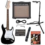 Rocktile Sphere Classic Black Guitare électrique Kit (Guitare électrique dans St de design avec 3micros et Tremolo, avec amplificateur, support, accordeur, sangle et câble de guitare Noir