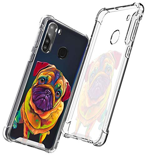 OOK Crystal Clear Case for Samsung Galaxy A21 French Bulldog Slim Fit Heavy Duty Protection Thin Case Soft Flexible TPU with Hard PC Cover for Samsung Galaxy A21