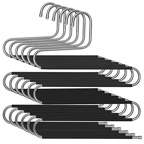 SONGMICS Broekhangers ruimtebesparend, set van 6 stuks, metalen kleerhangers voor 5 broeken, S-vorm, antislip…