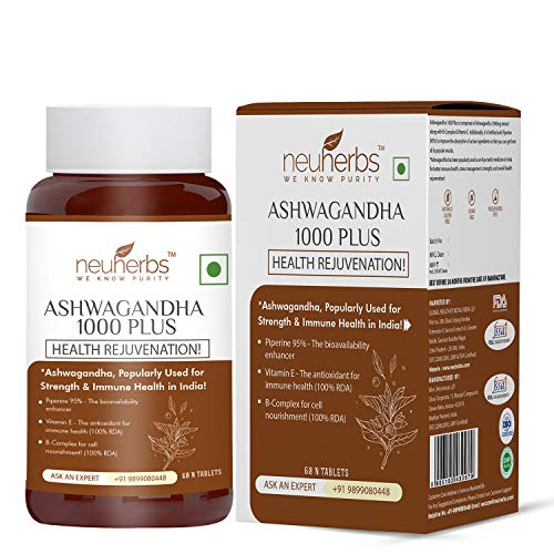 Neuherbs Ashwagandha 1000 Plus – Pure Herbs Extract for General wellness -60 Tablets