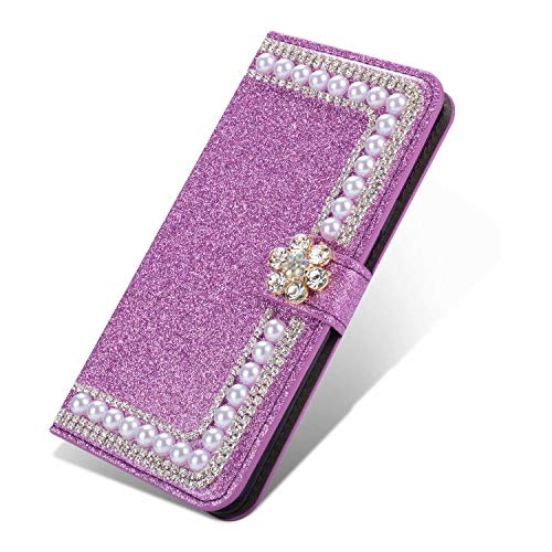 Nadoli Bling Case for Huawei Y6P,Glitter Diamond Wallet Case with Kickstand Card Slots Magnetic Pearl Flower PU Leather Cover for Huawei Y6P,Purple