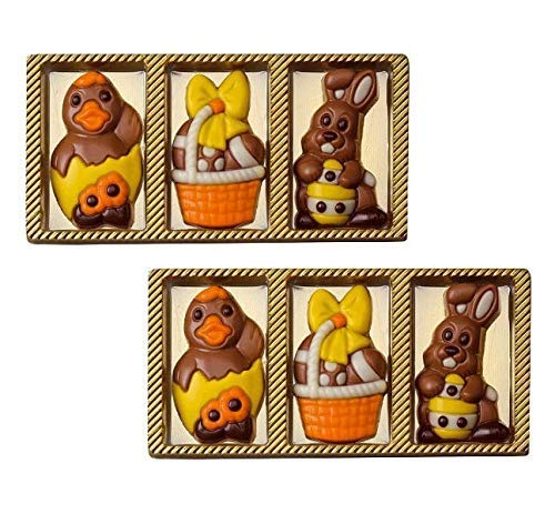 Weibler Confiserie 6 figuras de Pascua en chocolate con leche: 2 pollitos, 2 canastas de huevos y 2 conejos (60 gramos)