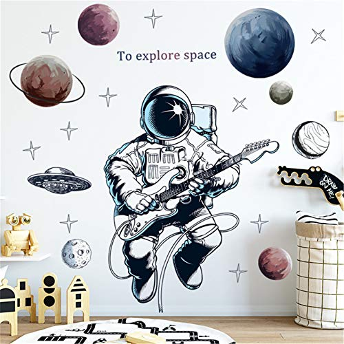 LucaSng Wandtattoo Kinderzimmer Vinyl Tapete Wandsticker, Astronaut Weltraum Planeten Wandaufkleber Wanddeko für Junge Kinderzimmer Kindergarten