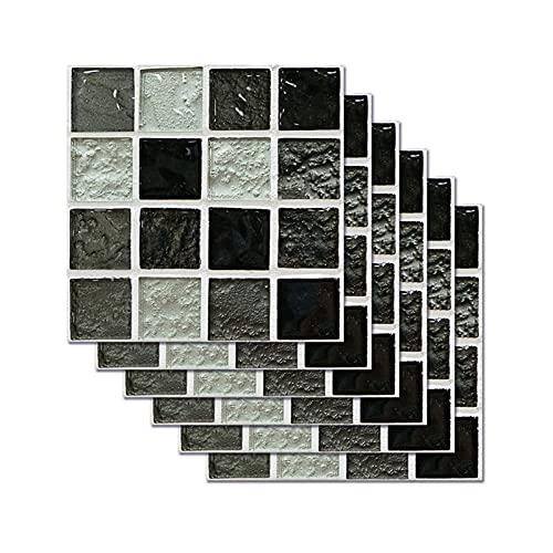 6 Piezas De Pegatinas De Azulejos De Mosaico para La Decoración del Hogar Pegatinas De Piso Impermeables De Bricolaje para El Baño del Dormitorio Pegatinas De Pared Azul Y Negro