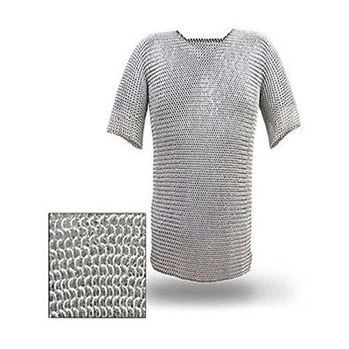 NASIR ALI Camisa de Cadena de Aluminio Butted Chainmail Haubergeon Armadura de Traje Medieval