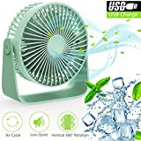 TedGem Desk Fan, USB Fan USB Desktop Fan, 360 °Rotation Quiet USB Fan Can Put Aromatherapy Oils, Blow Fragrant Wind, Mini 3 Speeds Ajustable Table Fan for Home, Office, Travel, USB Powered (Green)